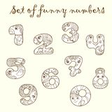 Set of funny figures (numbers). Set of unique hand-drawn funny figures (numbers) with eyes and hands Stock Photos