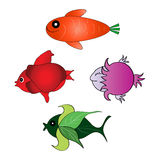 Set of the funny fishes Stock Images