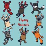 Set of 8 funny flying animals. Royalty Free Stock Photo