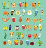 Set of Funny food characters with emotions, Royalty Free Stock Photography