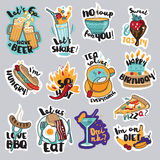 Set of funny food and drink stickers for social network Royalty Free Stock Images
