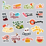 Set of funny food and drink stickers for social network Royalty Free Stock Image