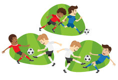 Set Funny football soccer players team playing on grass field Stock Photography