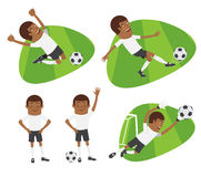 Set Funny football soccer players team playing on grass field Stock Image