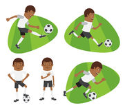 Set Funny football soccer players team playing on grass field Stock Photo