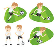 Set Funny football soccer players team playing on grass field Royalty Free Stock Photography