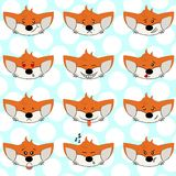 Set of funny fox emoticons - smiling orange foxes with different emotions from happiness to angry. Can be used for logos, icons. royalty free illustration