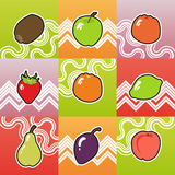 Set of funny fruit Royalty Free Stock Images