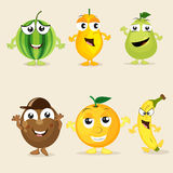 Set of funny fruit characters. Royalty Free Stock Photo