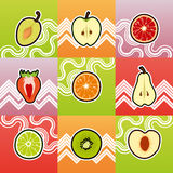 Set of funny fruit cross section Stock Images