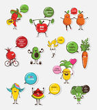 Set of funny fruit and vegetable icons. Cartoon face food emoji. Funny food concept. Stock Image