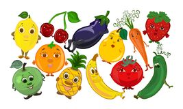 A set of funny fruits and vegetables with faces, smileys.  Stock Image
