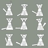 Set of funny geometric cats - vector illustration Stock Photo