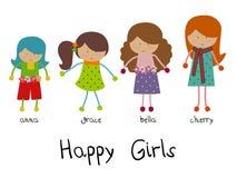 Set of funny girls. Stock Photos