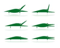 Set of funny green crocodiles for your design Royalty Free Stock Images
