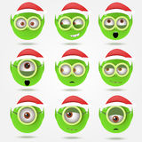 Set of funny green Santa's elfs smiles in goggle glasses Stock Photos