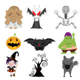 Set of funny halloween cartoons Stock Images