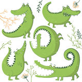 Set of funny hand drawn crocodiles. Stock Photos