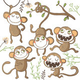 Set of funny hand drawn monkeys,. Set of funny hand drawn monkeys and floral elements. Vector illustration royalty free illustration