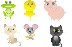 Set of funny happy cartoon animals Stock Image