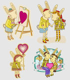 Set of funny hare Royalty Free Stock Photos