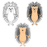 Set, funny hedgehog sketch, in color. Isolated on white background Stock Photo