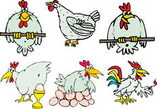 Set of funny hen birds and roosters Royalty Free Stock Photography