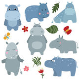 Set funny hippos Stock Images