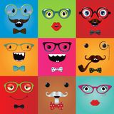 Set of funny hipster monster eyes Stock Photo