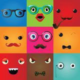 Set of funny hipster monster eyes. Vector Illustration Royalty Free Stock Photos