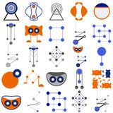 Set of funny icons, logos in the form of fantastic characters, items in the form of silhouette and abstract compositions of blue a. Icon set of blue and orange Stock Photos