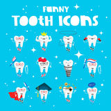 Set of funny icons of teeth Royalty Free Stock Photo