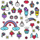 Set of funny illustrations in kawaii style on a white background. royalty free illustration
