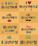 Set of funny inscriptions for cards and T-shirts Stock Photo