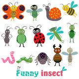 Set of  with funny insect Stock Photography