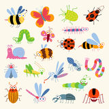 Set funny insects. Cartoon character.  on white background. Wasp, bee, bumblebee, butterfly, worm, caterpillar, beetle, ladybug, grasshopper, fly, mosquito Royalty Free Stock Image