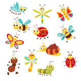 Set of funny insects. Set of funny cartoon insects isolated over white Royalty Free Stock Image