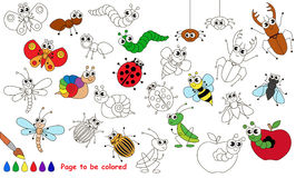 Set of funny insects cartoon. Page to be colored. Royalty Free Stock Photo