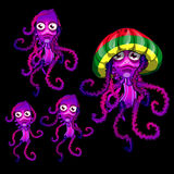 Set of funny jellyfish Rasta, Rasta cap beret Royalty Free Stock Images