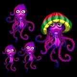 Set of funny jellyfish Rasta, Rasta cap beret Royalty Free Stock Images