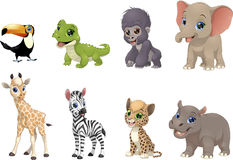 Set of funny kids animals Royalty Free Stock Photos