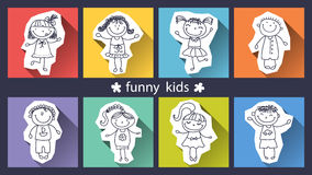 Set of funny kids on background Royalty Free Stock Images