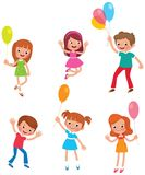 Set of funny kids with balloons Stock Images