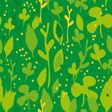 Set of funny leaves. Seamless pattern on a green background.  Stock Photo
