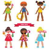 Set of funny little girls Stock Images