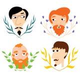 Set of funny men faces royalty free illustration