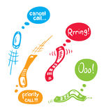 Set of funny mobile phone. Vector illustration - funny colored mobiles vector illustration