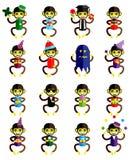 Set of funny monkey icons cartoon Royalty Free Stock Photo