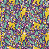 Set of funny monkeys in different poses in the jungle. Vector seamless pattern for your animal fabric design. Set of funny monkeys in different poses in the royalty free illustration