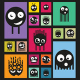 Set of funny monsters on bright background, vector Royalty Free Stock Photo